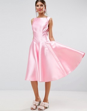 photo Panelled Seamed Midi Prom Dress with Godets by ASOS SALON, color Pink - Image 1