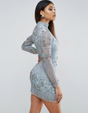 photo Long Sleeve Pearl Mini Dress by ASOS RED CARPET, color Blue - Image 2