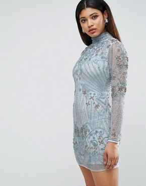 photo Long Sleeve Pearl Mini Dress by ASOS RED CARPET, color Blue - Image 1