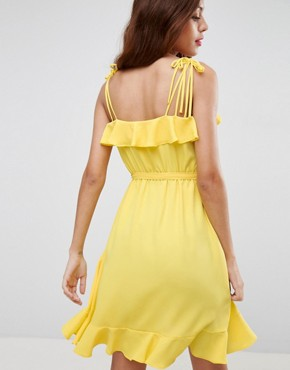 photo Cami Ruffle Wrap Front Midi Dress by ASOS, color Yellow - Image 2