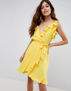 photo Cami Ruffle Wrap Front Midi Dress by ASOS, color Yellow - Image 1
