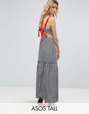 photo Tiered Gingham Maxi Dress with Contrast Tie Back by ASOS TALL, color Black White - Image 1