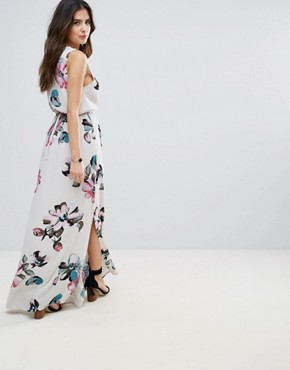 photo Floral Maxi Dress by Soaked in Luxury, color Watercolour Print - Image 2