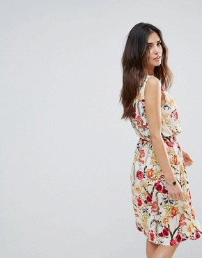 photo Floral Skater Dress by Soaked in Luxury, color Multi Flower Print - Image 2