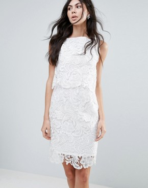 photo Amy Lynn Lace Overlay Midi Dress with Open Back by Amy Lynn Occasion, color White - Image 2
