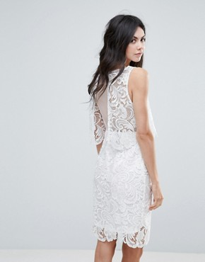 photo Amy Lynn Lace Overlay Midi Dress with Open Back by Amy Lynn Occasion, color White - Image 1