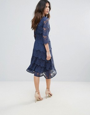 photo Lace Midi Dress by Soaked in Luxury, color Insignia Blue - Image 2