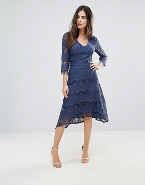 photo Lace Midi Dress by Soaked in Luxury, color Insignia Blue - Image 1