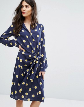 photo Dispensa Spot Tie Dress by MAX&Co, color Midnight Blue Patter - Image 1