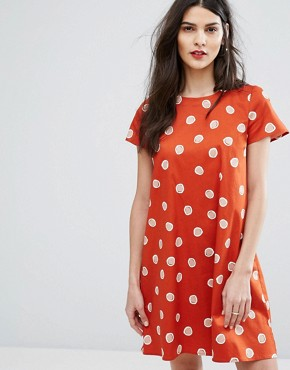 photo Diploma Spot Dress by MAX&Co, color Rust Pattern - Image 1