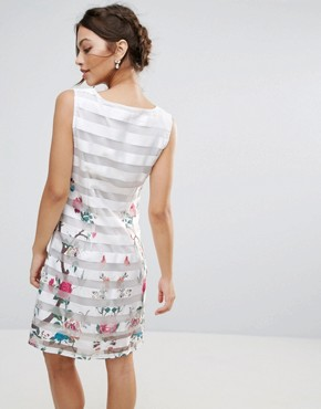 photo Amy Lynn Mesh Striped Shift Dress with Floral Panel by Amy Lynn Occasion, color White - Image 2