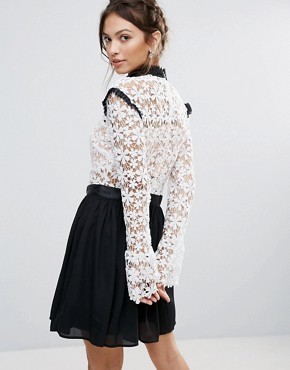 photo Amy Lynn High Neck Skater Dress with Lace Body by Amy Lynn Occasion, color Black - Image 2
