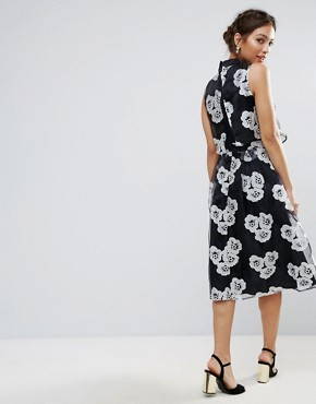 photo Amy Lynn High Neck Skater Dress in Floral Print by Amy Lynn Occasion, color Black - Image 2