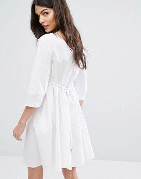 photo Diario Tie Waist Dress by MAX&Co, color White - Image 2