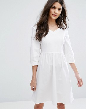 photo Diario Tie Waist Dress by MAX&Co, color White - Image 1