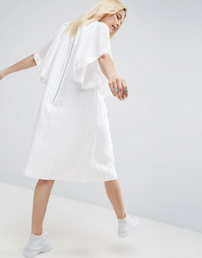 photo Frill Sleeve Textured A-Line Midi Dress by ASOS WHITE, color White - Image 2