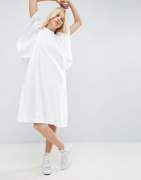 photo Frill Sleeve Textured A-Line Midi Dress by ASOS WHITE, color White - Image 1