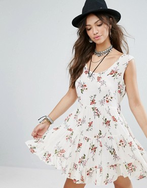 photo Festival Smock Dress with Tie Back in Romantic Floral by Glamorous, color White - Image 2