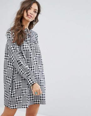 photo Smock Dress in Mixed Gingham by Glamorous, color Black - Image 1