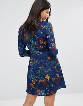 photo Long Sleeve Printed Skater Dress by Lavand, color Blue - Image 2