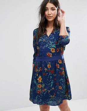 photo Long Sleeve Printed Skater Dress by Lavand, color Blue - Image 1