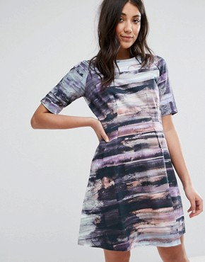photo Structured Printed Skater Dress by Lavand, color Multi - Image 1
