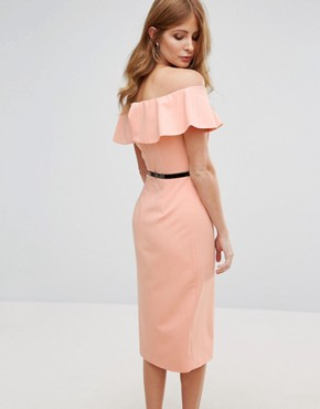 photo Belted Pencil Dress by Millie Mackintosh, color Peach - Image 2