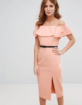 photo Belted Pencil Dress by Millie Mackintosh, color Peach - Image 1