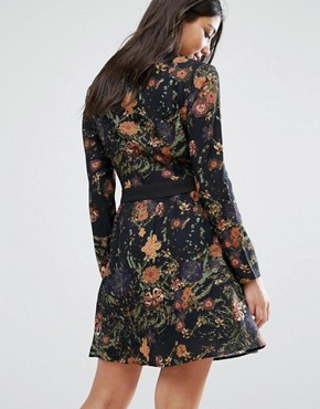 photo Printed Shirt Dress by Lavand, color Black - Image 2