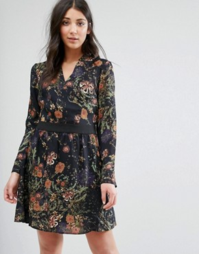 photo Printed Shirt Dress by Lavand, color Black - Image 1