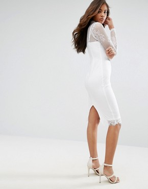 photo High Neck Lace Midi Dress by Missguided Tall, color White - Image 2