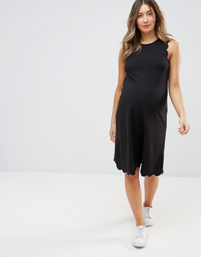 photo Shift Dress with Scallop Detail by ASOS Maternity TALL, color Black - Image 1