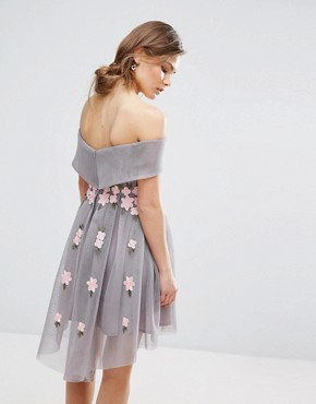 photo Floral Mesh Bardot Skater Dress by New Look Premium, color Grey - Image 2