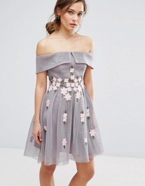 photo Floral Mesh Bardot Skater Dress by New Look Premium, color Grey - Image 1