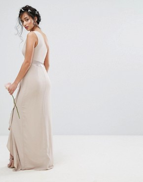 photo One Shoulder Maxi Dress with Frill Detail by TFNC Petite WEDDING, color Mink - Image 2