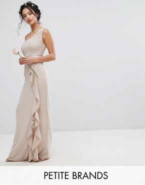 photo One Shoulder Maxi Dress with Frill Detail by TFNC Petite WEDDING, color Mink - Image 1