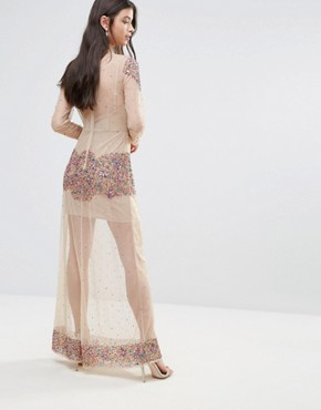 photo Allover Embellished Mesh Insert Maxi Dress by Maya Petite, color Multi - Image 2