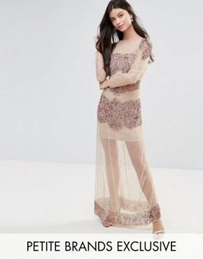 photo Allover Embellished Mesh Insert Maxi Dress by Maya Petite, color Multi - Image 1