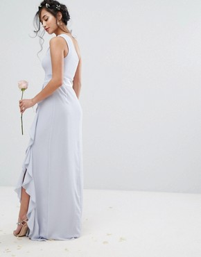 photo One Shoulder Maxi Dress with Frill Detail by TFNC Petite WEDDING, color Blue - Image 2