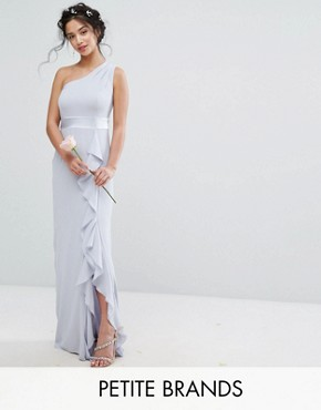 photo One Shoulder Maxi Dress with Frill Detail by TFNC Petite WEDDING, color Blue - Image 1