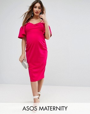 photo Crepe Twist Front Midi Dress with Trumpet Sleeve by ASOS Maternity, color Hot Pink - Image 1