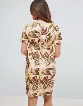photo Smart Dress in Tropical Print by ASOS Maternity, color Nude Base Floral - Image 2
