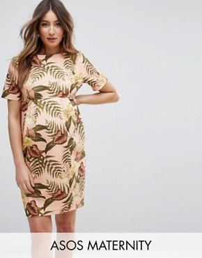 photo Smart Dress in Tropical Print by ASOS Maternity, color Nude Base Floral - Image 1