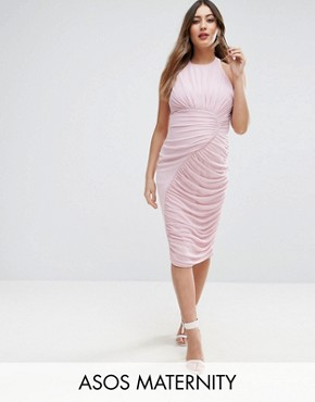photo Mesh Ruched Curved Seam Detail Dress by ASOS Maternity, color Lilac - Image 1