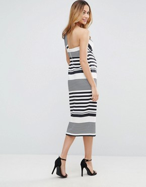 photo One Shoulder Scuba Ruffle Stripe Midi Dress by ASOS Maternity, color Black White - Image 2