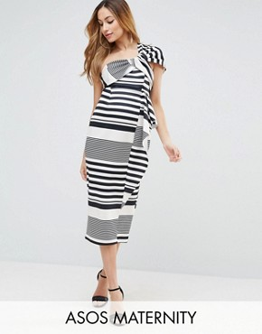 photo One Shoulder Scuba Ruffle Stripe Midi Dress by ASOS Maternity, color Black White - Image 1