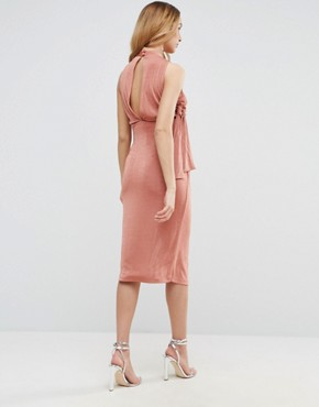 photo High Neck Tie Side Midi Bodycon Dress by ASOS Maternity, color Rose Pink - Image 2
