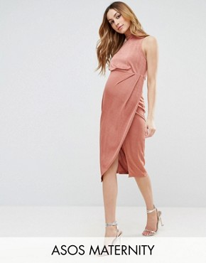 photo High Neck Tie Side Midi Bodycon Dress by ASOS Maternity, color Rose Pink - Image 1
