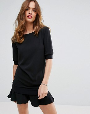 photo Dress with Frill Hem by Sisley, color Black - Image 1