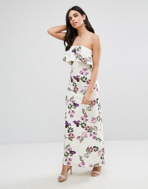 photo Bandeau Frill Maxi Dress in Floral Print by Oh My Love, color Rose Garden Print - Image 1